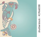 nouveau background with owl on... | Shutterstock .eps vector #41966038