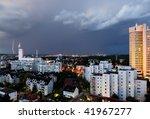 lightning strike over the city... | Shutterstock . vector #41967277