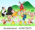 the concert of the cattle... | Shutterstock .eps vector #419672875