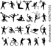 set of sports icons black color. | Shutterstock . vector #419675101