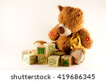 baby toys  teddy bear and blocks | Shutterstock . vector #419686345