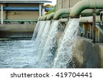 water flows from a pipe for...   Shutterstock . vector #419704441