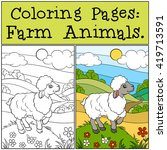 coloring pages  farm animals.... | Shutterstock .eps vector #419713591