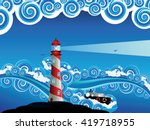 sailboat and lighthouse in the... | Shutterstock .eps vector #419718955