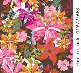seamless vector floral... | Shutterstock .eps vector #419722684