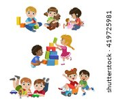kids playing indoors set of... | Shutterstock .eps vector #419725981