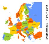 map of europe with names of... | Shutterstock .eps vector #419741845