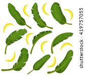 tropical leaves with bananas... | Shutterstock .eps vector #419757055