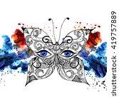 butterfly cabareth woman eyes... | Shutterstock . vector #419757889