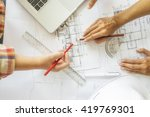 hands of engineer working on... | Shutterstock . vector #419769301