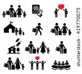 refugee  immigrants  families... | Shutterstock .eps vector #419770075