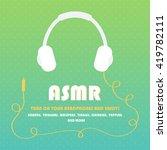 asmr card with headphones on... | Shutterstock .eps vector #419782111