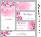 design watercolor wedding... | Shutterstock .eps vector #419789005