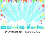 city landscape and balloons   Shutterstock .eps vector #419796739