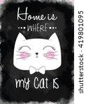 Stock vector cat print cat graphic cat illustration canvas print cat pattern cat design cat graphic cat 419801095