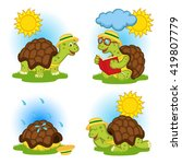 turtle reading a book and...   Shutterstock .eps vector #419807779