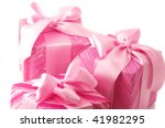 three pink gifts with satin... | Shutterstock . vector #41982295