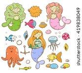 cartoon marine set. cute sea ... | Shutterstock .eps vector #419838049