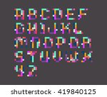 colorful pixel font | Shutterstock .eps vector #419840125