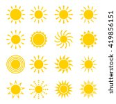 Sun Icon Vector Set In A Flat...