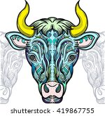 bull with decorative pattern....