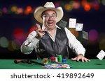 asian poker player wearing... | Shutterstock . vector #419892649