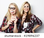 two stylish sexy hipster girls... | Shutterstock . vector #419896237