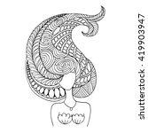 mermaid portrait  zentangle... | Shutterstock .eps vector #419903947