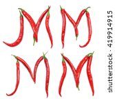 the letter red chili peppers... | Shutterstock . vector #419914915
