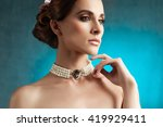 young  woman with jewelry... | Shutterstock . vector #419929411