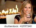 Woman At A Romantic Dinner Wit...