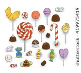 set of candy icons. glaze ... | Shutterstock . vector #419975419