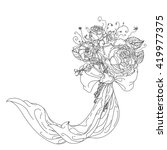 Highly detailed  hand drawn wild roses  and ribbon for adult colouring book. Hand-drawn, doodle, vector the best for your design, wedding cards, coloring book. Black and white.