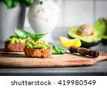 vegan sandwich   crostini with... | Shutterstock . vector #419980549