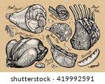 meat  butcher shop. hand drawn... | Shutterstock .eps vector #419992591