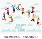 group of young people jumping... | Shutterstock .eps vector #420008227