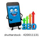 a smartphone and a seo model | Shutterstock . vector #420011131