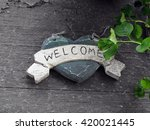 Distressed Welcome Sign On...