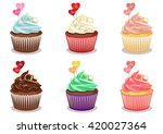 cupcake set vector. chocolate... | Shutterstock .eps vector #420027364