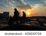 construction worker on... | Shutterstock . vector #420033724