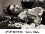 Strangled or poisoned beautiful young woman - stock photo