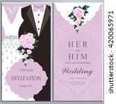 wedding invitation card  bride... | Shutterstock .eps vector #420065971