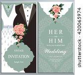 wedding invitation card  bride... | Shutterstock .eps vector #420065974
