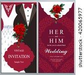 wedding invitation card  bride... | Shutterstock .eps vector #420065977