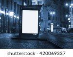 billboard at bus stop at night   Shutterstock . vector #420069337
