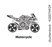 abstract gears in motorcycle... | Shutterstock .eps vector #420074929