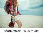 redhead girl walking through a... | Shutterstock . vector #420074989