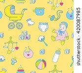 baby clothes and toys hand... | Shutterstock .eps vector #420087985