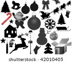 vector collection of isolated christmas silhouettes - stock vector