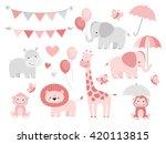 Cute Jungle Animals Set For...